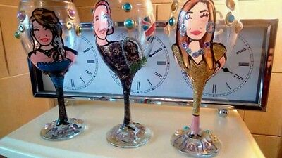 Hand Painted Personalised Wine Glass Sweet Pea Mothers Day Christmas