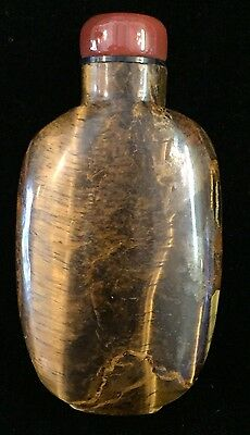 Vintage/antique? Chinese Snuff Bottle Brown Marble Red Top