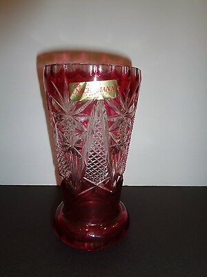 Vintage Nachtmann Bleikristall Ruby Red Crystal Vase West Germany