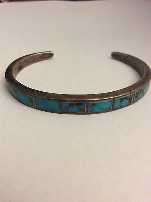 Vintage Native American Old Pawn Navajo Sterling  Inlay Turquoise Cuff Bracelet
