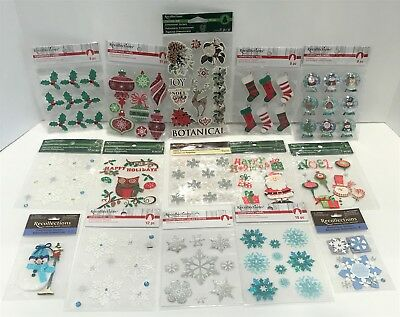 Recollections CHRISTMAS Holiday 3D Stickers Embellishments Santa Lot of 15