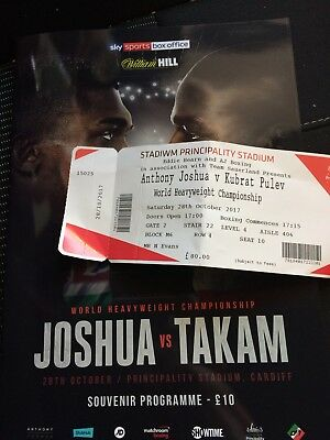 Anthony Joshua V Carlos Takam Fight Programme & Ticket. Boxing Memorabilia