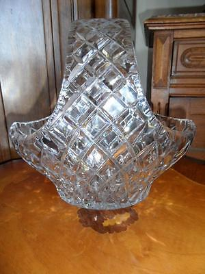 huge vintage hand cut polish / Bohemian lead crystal heavy basket bowl vase