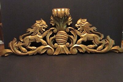 "Antique Oak Lion Carved Crest Architectural Fragment Gold Paint 28"" Scroll Hood"