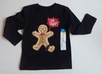 Boys OH SNAP 24M Long Sleeve Cotton Tee Top Shirt Black Holiday Okie Dokie NWT