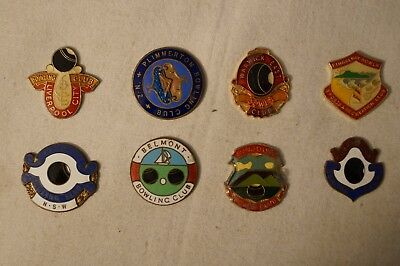 Collectable - Vintage - Group Lot of 8 Various Bowling Club - Badges - Medals