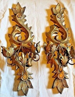 "lg 24""  Vtg HOLLYWOOD Gothic GOLD CANDLE SCONCES SYROCO 3 ARM castle votive"