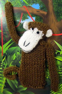 Hand Knitted 12Cm Tall Monkey Finger Puppet On A Blank Gift Card With Envelope