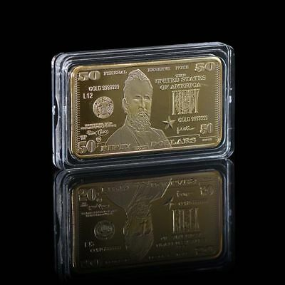 WR US $50 Fifty Dollar Bill Federal Reserve Star Note Art GOLD Bullion Bar Gifts