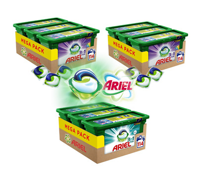 3x Ariel 3-in-1 Washing Pods Capsules - 114 Washes - Original, Fabreze & Colour