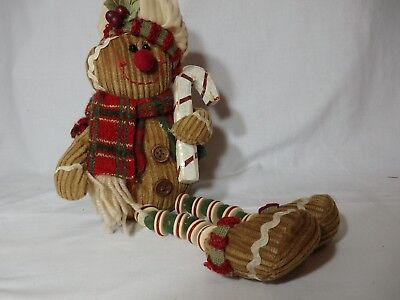 Brown Corduroy Snow Man with Candy Cane
