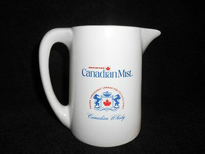 Imported CANADIAN MIST White Ceramic Pitcher Canadian Whisky Canada