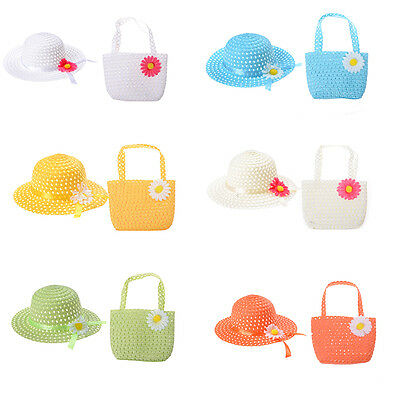 Cute Girls Kids Beach Summer Sun Hats Bags Flower Straw Hat Cap Handbag Suit