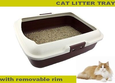 Cat Litter Box Toilet Tray With Rim Non Spill Portable Kitten Large Kitty Pan