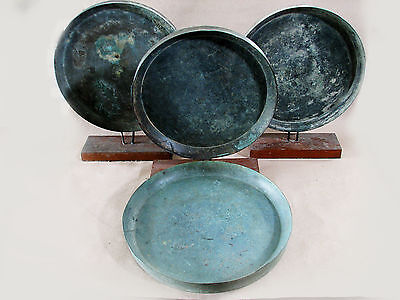 Beautiful & Most Rare 4 Ancient Bronze Dish With 3 Wood Stand Large Size *