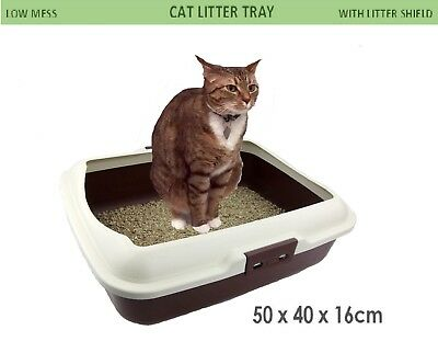 Cat Litter Tray w/Rim Pet Kitten Toilet Training Hooded House Kitty Pan Tray New