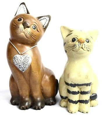 """2 Hand Carved Wooden Cats Carved Figurines Painted Decor 7.5"""" & 10"""" Tall"""