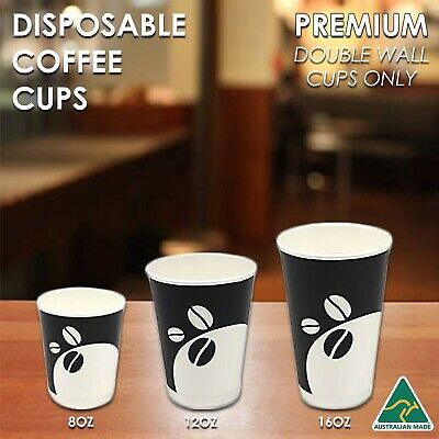 DISPOSABLE COFFEE TEA CUP 8OZ 250ML TAKEAWAY PAPER DOUBLE