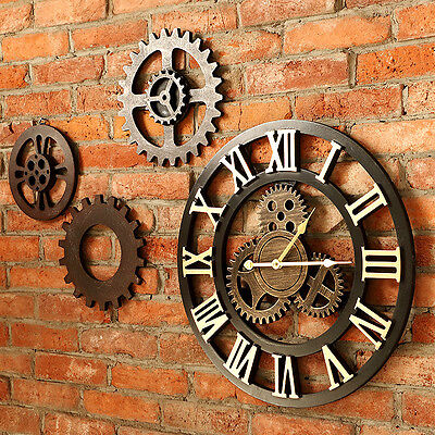 40/60/80cm Handmade Clock Large Gear Wall Clock Vintage Rustic Classic Decor Pop