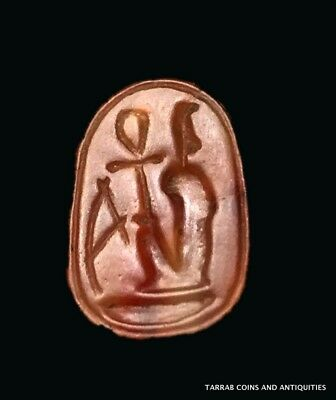 ANCIENT EGYPTIAN CARNELIAN SCARAB; 18TH DYN 1570-1293 BC! Incised Hieroglyphs!