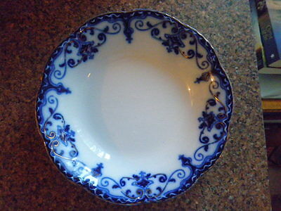 "Johnson Bros ""Jewel"" Flow Blue Bowl Scalloped Rim gold giliding"