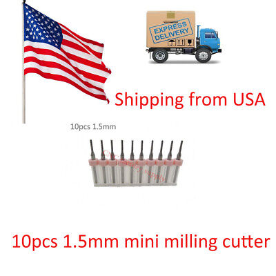 10PCS PCB milling cutter 1.5mm milling cutter tungsten carbide 3.175mm in USA