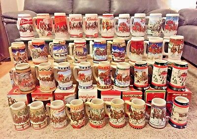 Huge Lot of 37 Collectible Holiday Budweiser Steins 1984-2016