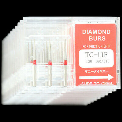 10 Boxes Dental Diamond Burs TC-11F Taper Conical End Fine Grit MANI DIA-BURS