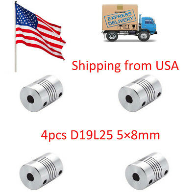 OD 19x25mm 4pcs 5x8mm CNC Motor Jaw Shaft Coupler 5mm To 8mm Flexible Coupling