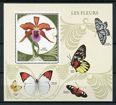 Madagascar 2016 MNH Flowers Orchids 1v S/S Butterflies Insects Stamps