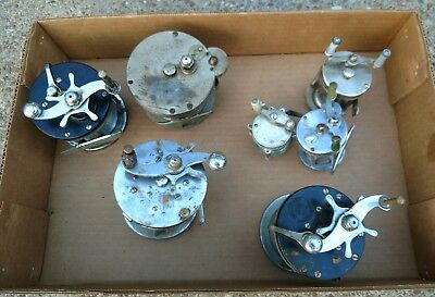 Antique Baitcasting fishing reel Salvage Lot of 7 Boat and casting USA Pflueger