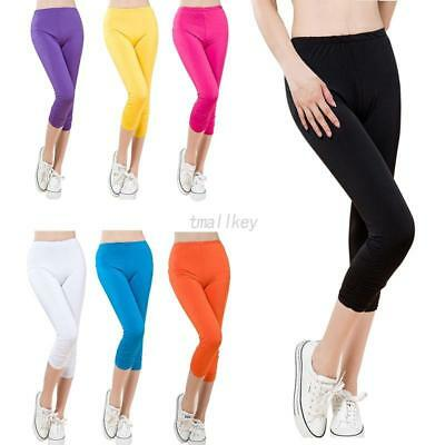Womens Cropped 3/4 Leggings Active Capri Length Stretchy Pants Yoga Candy Color