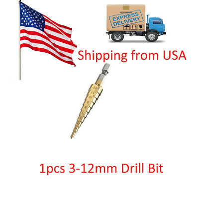 1pcs Titanium Step Drill Bits 3-12mm HSS Power Tools HSS Wood Metal Drilling USA