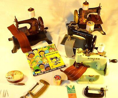 OLD VINTAGE ANTIQUE SINGER MODEL 20's AND GERMAN TOY HAND SEWING MACHINES WOW.