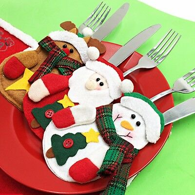 Christmas Decoration Santa Cutlery Holder Bag Cover Dinner Xmas Table Decor