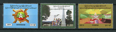 Myanmar 2017 MNH Union Peace Conference Panglong 3v Set Doves Birds Stamps