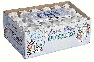 24 Mini White Lovebird Bottles Bubble Wedding Party Favours Treat Just Married
