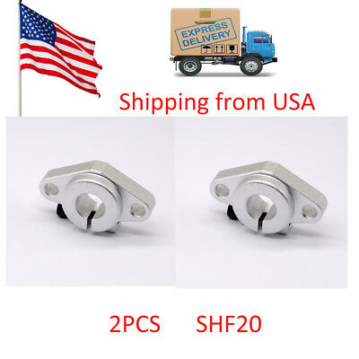 2pcs SHF20 20mm Flange Mount Linear Rail Shaft Support Linear Rod shaft in USA