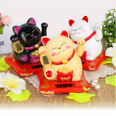 Cute Solar Powered Chinese Welcoming Lucky Beckoning Fortune Cat Waving Hand New
