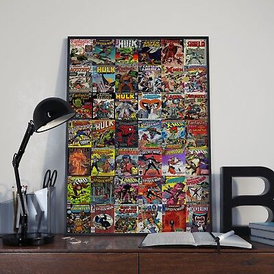 Marvel Comic Cover Collage Mosaic Poster Print / Picture A3 A4 Size