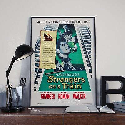 Alfred Hitchcock Strangers On A Train Movie Film Poster Print Picture A3 A4