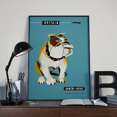 Vintage Qantas Great Britain Bulldog Tourist Travel Poster Print Picture A3 A4