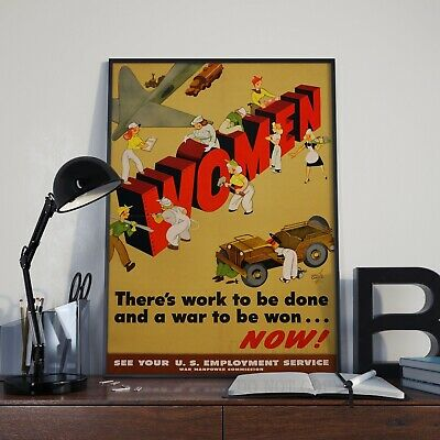Vintage Women At Work World War 1 & 2 Propaganda Poster Print Picture A3 A4