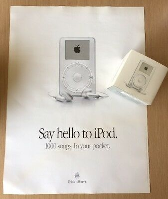 New Old Stock Apple iPod Classic 1st Generation 5gb 2001 & Apple Store Poster