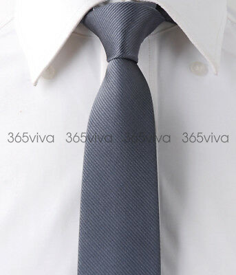 Gray Stripes Mens Skinny Slim Narrow Woven Silk 6.5 cm Wedding Neckwear Tie