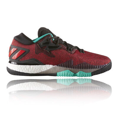 adidas Mens Crazylight Boost Low Court Shoes Red Badminton Sports Lightweight