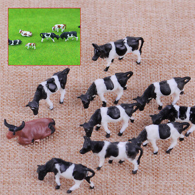10pc 1:87 HO Scale Model Mixed Farm Animal Figure Cows for Train Building Layout