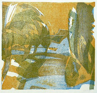 Dieter claußnitzer - Houses at the Edge of the Village - Color Woodcut 1978