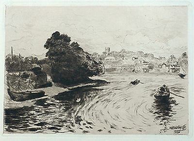 Willibald Wolf rudinoff - at the Elbe - Etching/kaltnadel 1901