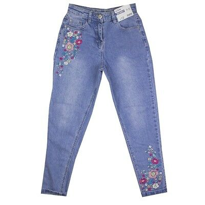 Girls Relaxed Fit Skinny Denim Jeans Floral Emroidered Ex Uk Store 4-14Y New